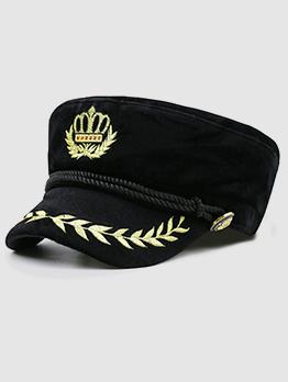 Wheat Head Embroidery Navy Cap