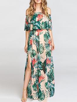 Euro Tropical Print Ruffles Slit Maxi Dresses