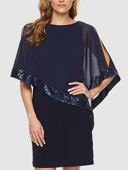 Stylish Sequined Patchwork Shawl Dresses