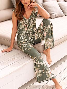Summer V Neck Sleeveless Floral Wide Leg Jumpsuit