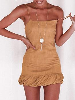 Solid Boat Neck Spaghetti Strap Short Dress