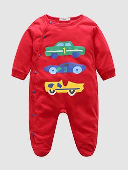Crew Neck Car Print Baby Boy Red Sleepsuit
