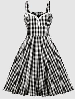 Plaid V Neck Sleeveless Vintage Dresses