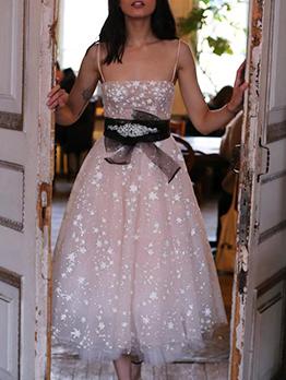 Shiny Star Gauze Spaghetti Strap Party Dress