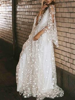 Deep V Neck Star Gauze Floor Length Dresses