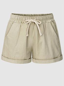 Summer Crimping Solid Short Pants