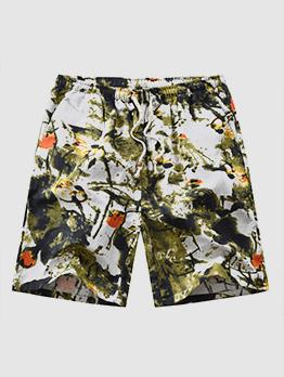 Casual Printing Pockets Half Length Shorts