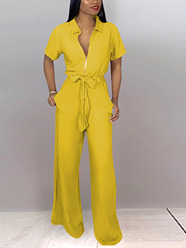 V Neck Tie-Wrap Solid Wide Leg Jumpsuit
