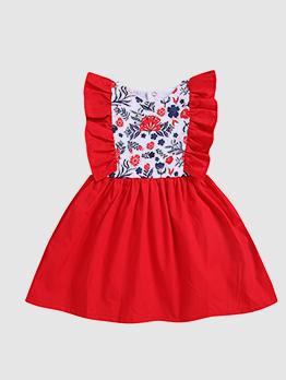 Binding Bow Patchwork Ruffles Girl Flower Dress