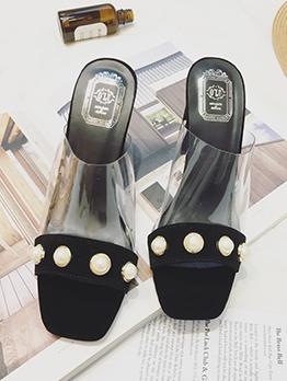 Korean Design Pearl Square Toe Clear Slippers