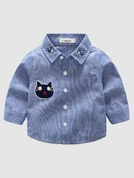 Cartoon Cat Striped Button Up Boys Shirt