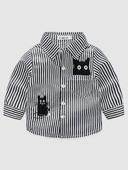 Turndown Neck Cat Striped Shirt For Boys