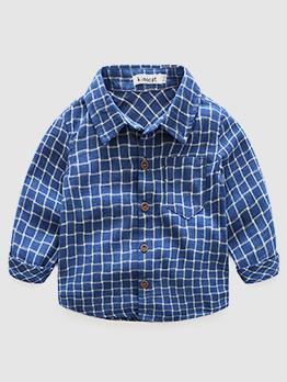 Solid Plaid Short Sleeve Boys Cotton Shirt