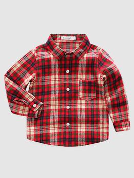 Turndown Collar Plaid Pocket Boy Casual Shirt