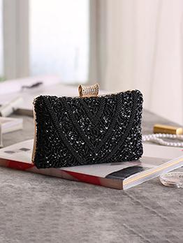 Elegant Diamond Decor Square Evening Clutch Bag