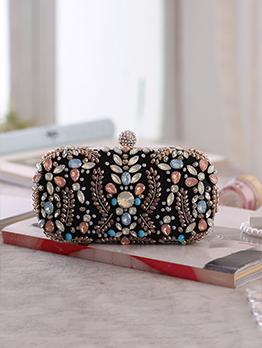 Fashion Contrast Color Diamond Evening Clutch Bag