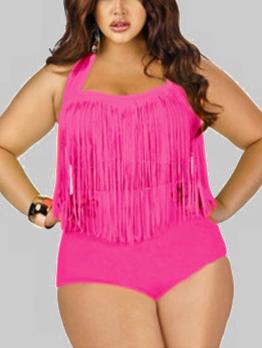 Fashionable Solid Tassels Halter Appeal Curve Bikini