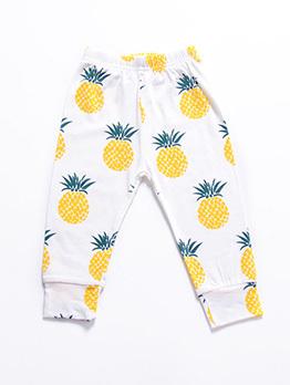 Summer Fruits Print Kids Cotton Long Pants