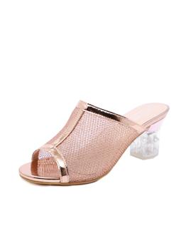 Spring Peep Toe Pu Chunky Heel Clear Slippers