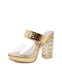 Stylish Letter PVC Chunky Heel Lady Slippers