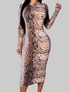 Trendy Snake Skin Print Bandage Dress