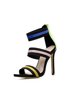 Euro Color Block Pointed Suede Black Sandals