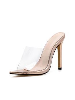 Fashionable PVC Peep-Toe Golden Heel Clear Slippers