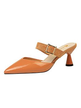 Korean Design Solid Pu Slip On Tan Heeled Slippers