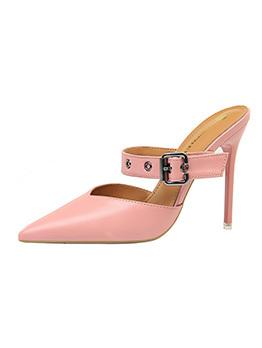Euro Hollow Out Pu Tan High Heel Women Slippers