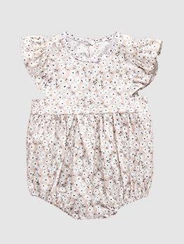 Floral Ruffles Sleeve Baby Girl Pink Romper