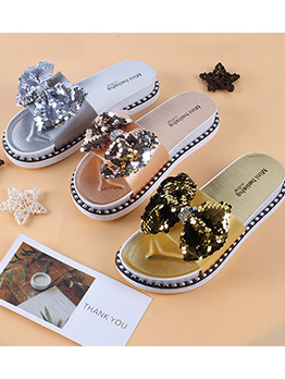 Chic Sequined Open Toe Slide Slippers For Women
