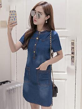 Korean Design Pocket Button Up Denim Dress
