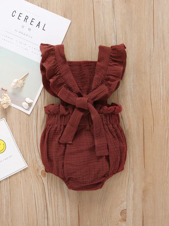 Summer Ruffles Sleeve Tie-Wrap Baby Romper