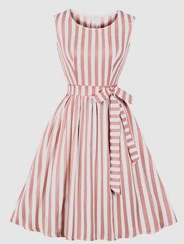 Crew Neck  Printed Striped Sleeveless Dresses