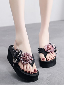Beach Stitching Stereo Flower Platform Slippers