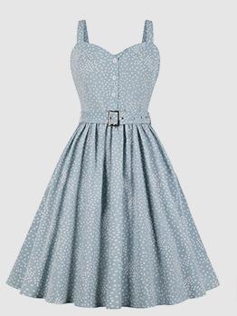 Hot Sale Vintage Polka Dots Pleated Sleeveless Dress