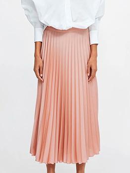 Euro Solid High Waist Pleated Midi Skirt