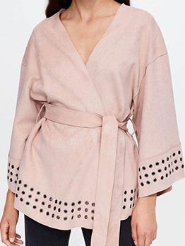 Hot Sale V Neck Tie-Wrap Suede Textured Coat