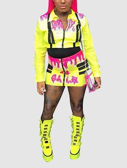 Turndown Neck Contrast Color Fitted Short Skirt Sets