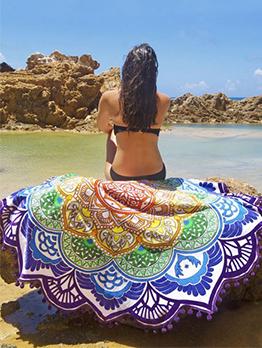 Polygonal Petaline Printed Tassel Beach Blanket