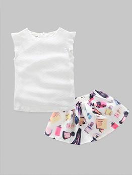 White Ruffles Sleeve Tee With Elastic Print Skirt