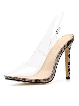 Sexy Closed Toe Leopard Print Thin Heel Clear Pumps