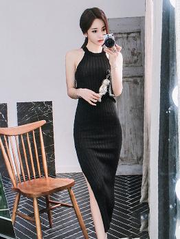 Solid Color Off Shoulder Knitting Midi Dress