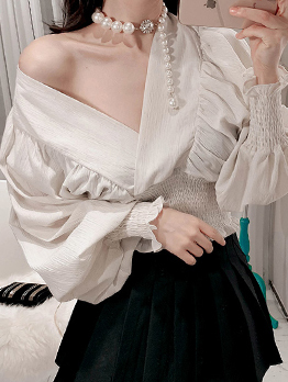 Ol Style V Neck Bat Sleeve Smart Waist White Blouse