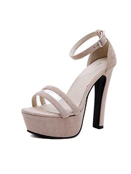 Korean Design Suede PVC A-Buckle Strap Sandals