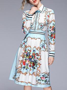 Vintage Turndown Collar Printed Long Sleeves Dress