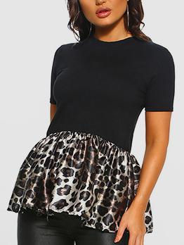 Fashion Leopard Patchwork Crew Neck T Shirt