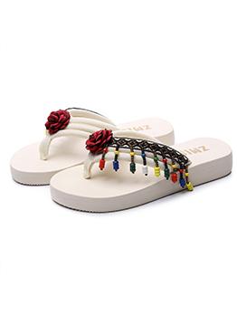 National Style Flower Tassel Slide Slippers