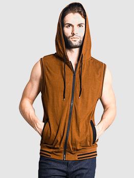 Stylish Zipper Up Hooded Tank For Men