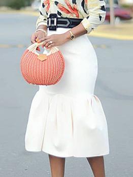 Hot Sale Flounced Hem White Pencil Skirt